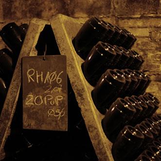 Bottles aging in cellar